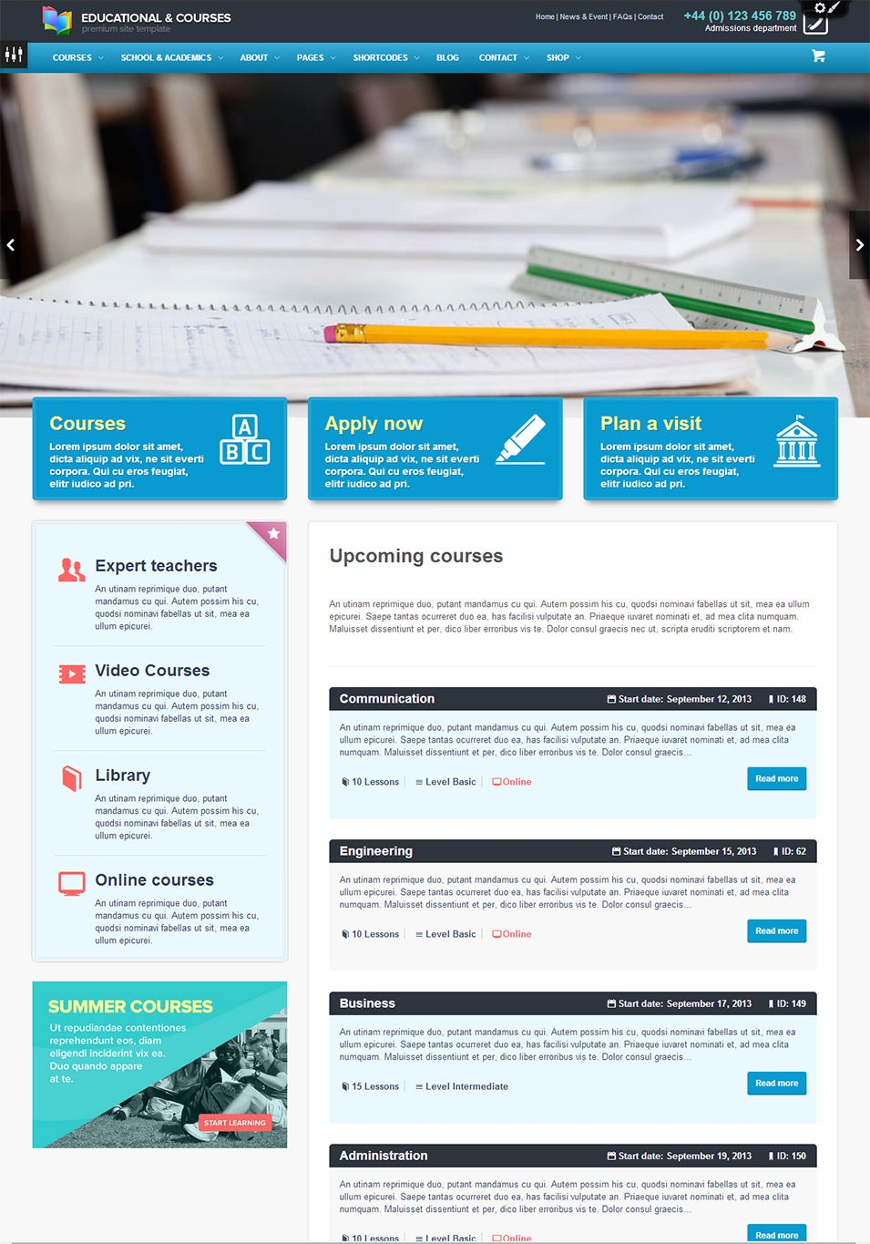 college wordpress theme