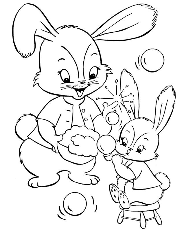 easter bunny coloring page to print