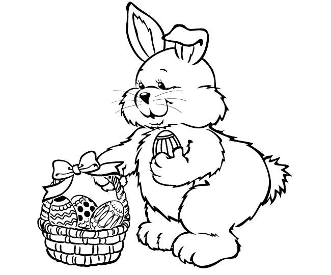 easter rabbit coloring page 2
