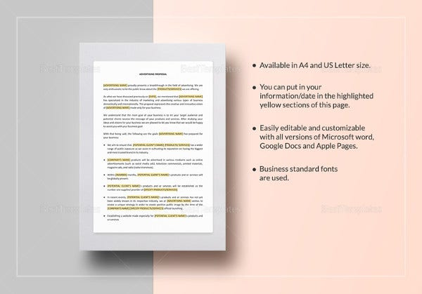 easy to print advertising proposal template