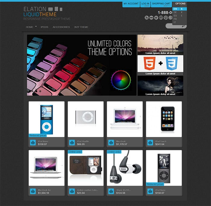 elation liquid responsive design theme template