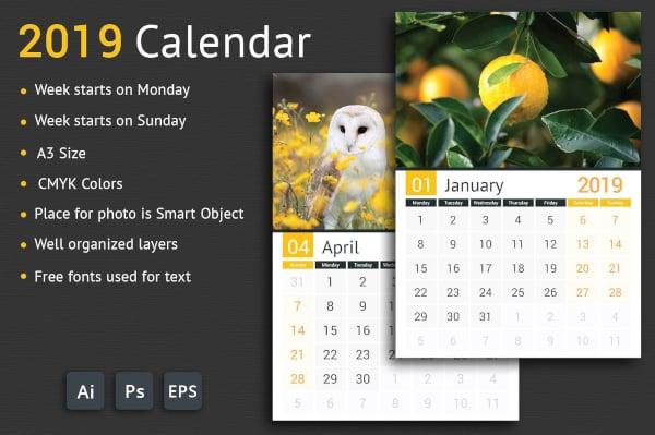 elegant 2019 calendar template