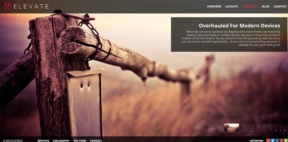 Elevate: A Full Screen Theme for WordPress