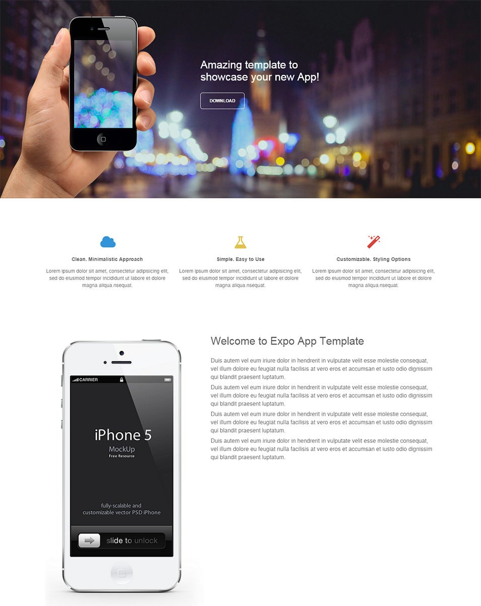 expo responsive landing page