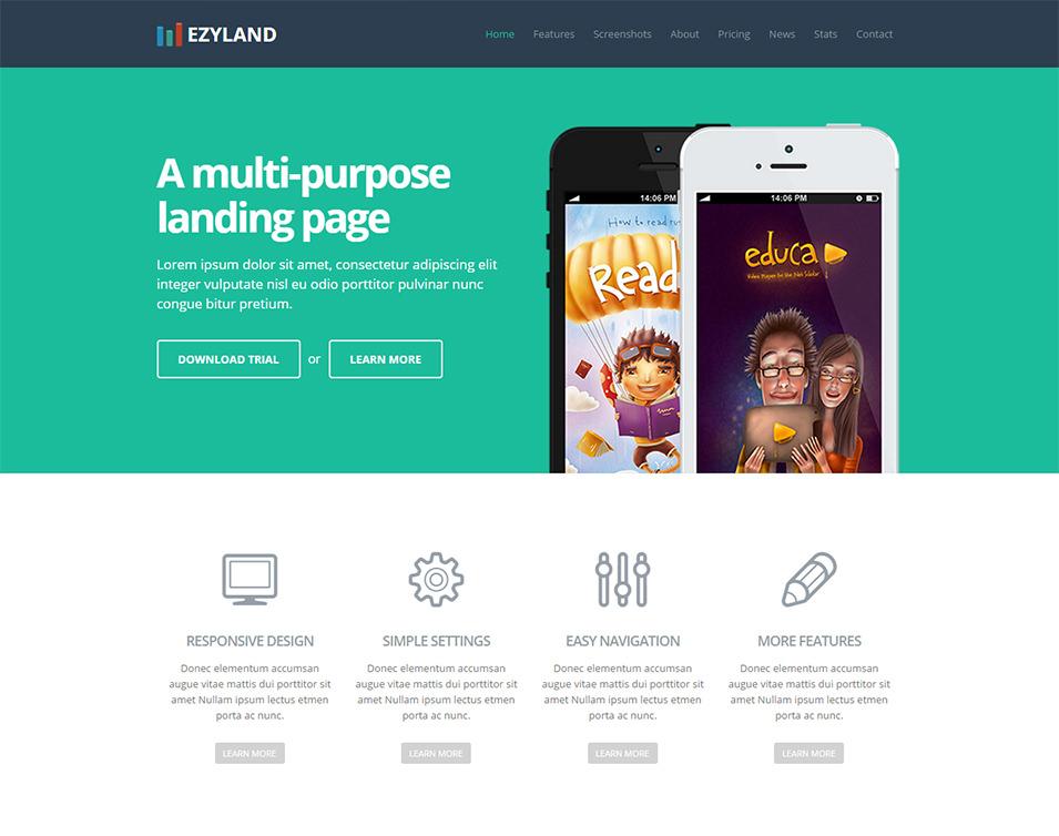 ezyland responsive multipurpose landing page