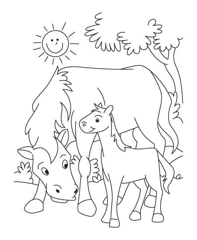 farm animal template templates free premium cute baby animal colouring pages funycoloring farm coloring of - Mom Baby Horse Coloring Pages