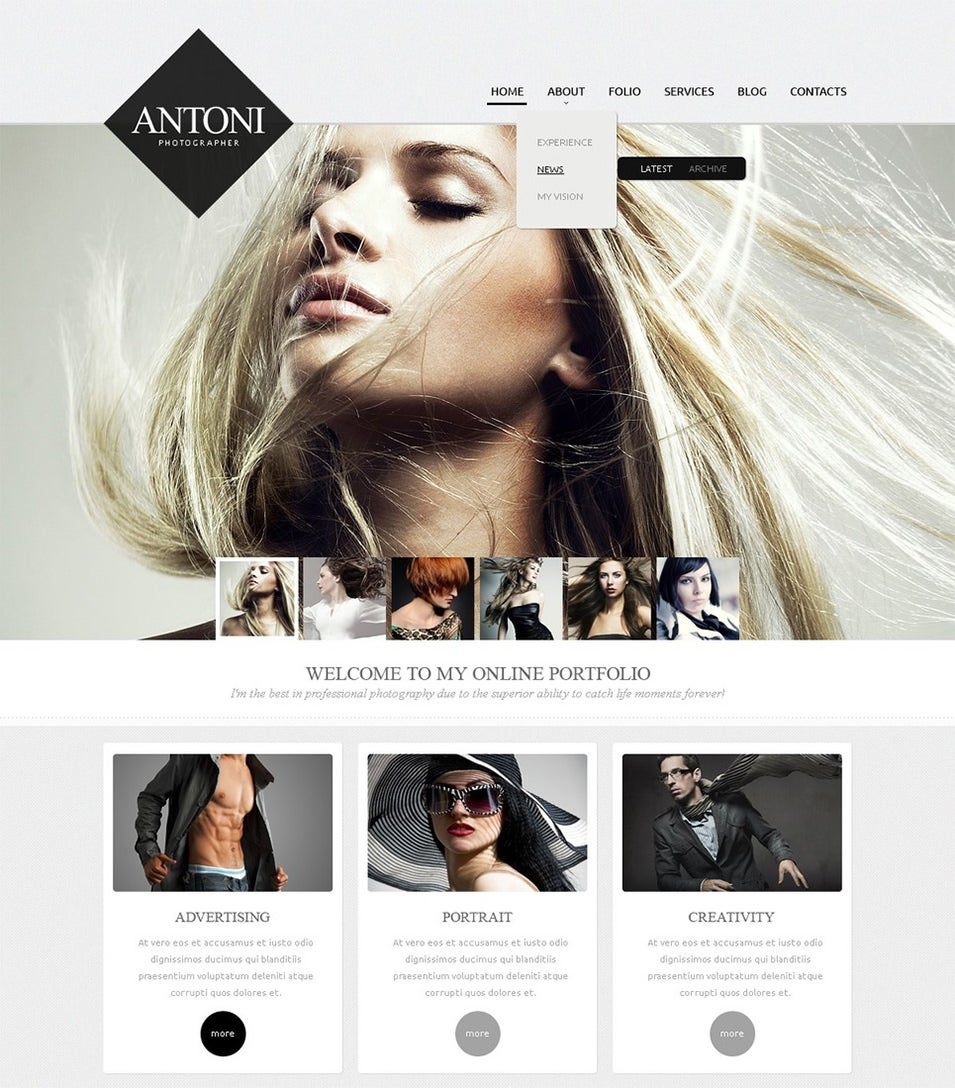 fashionable photographer drupal template