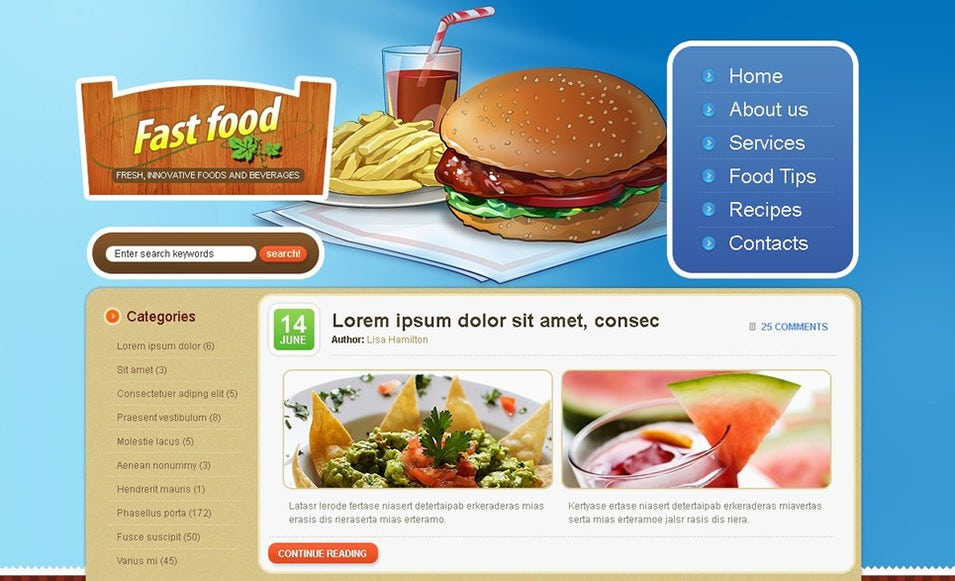 Fast Food Restaurant WordPress Theme