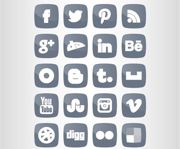 fat social media icon set