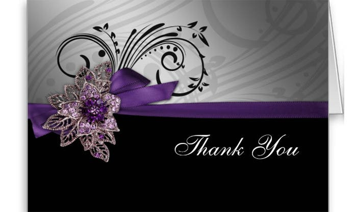 faux ribbon mod purple thank you card