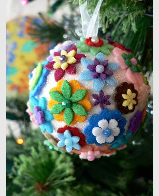 felt flower christmas ornament