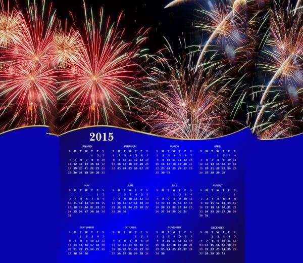 fireworks calendar 2015 print