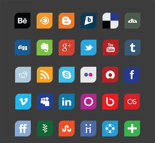 flat design social media icon set