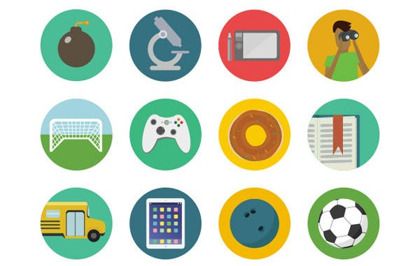 flat round icons bundle