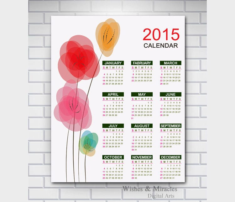 floral art yearly wall calendar