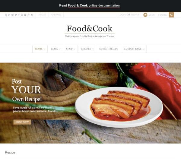 food cook multipurpose recipe wp theme