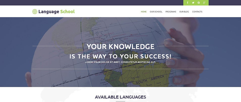 foreign language school wordpress theme
