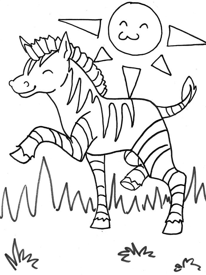 free zebra coloring page