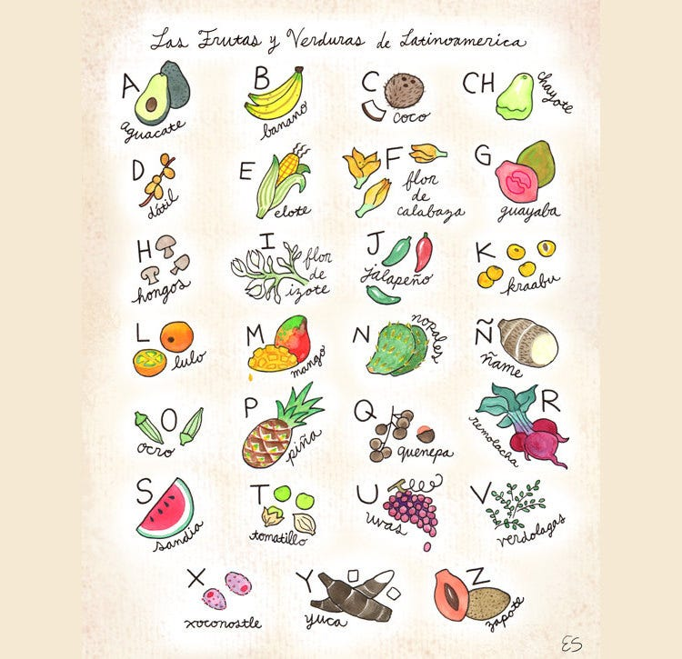 fruits and vegetables of latin america spanish alphabet poster