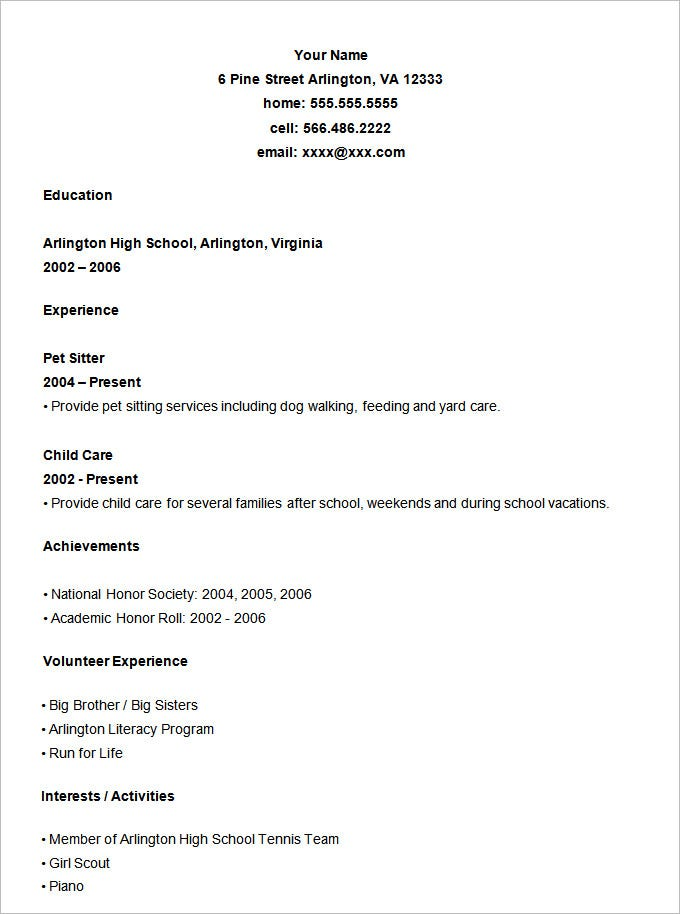 student resume template 21 free samples examples format - High School Resume Examples For College Admission
