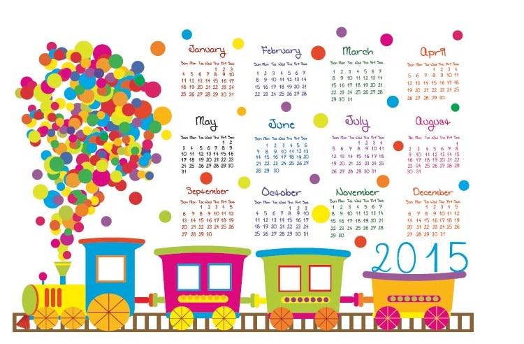 gift train with circle pattern 2015 calendar template