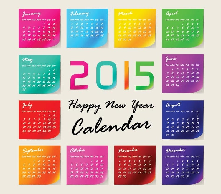 glossy sticky notes 2015 vector calendar