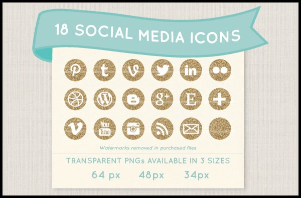 gold glitter social media icon set1