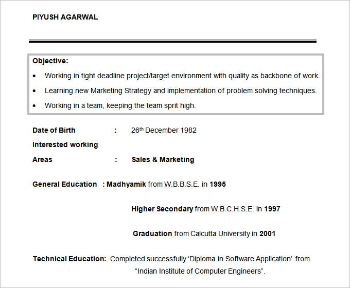 resume objectives 46 free sample example format download - An Objective On A Resume