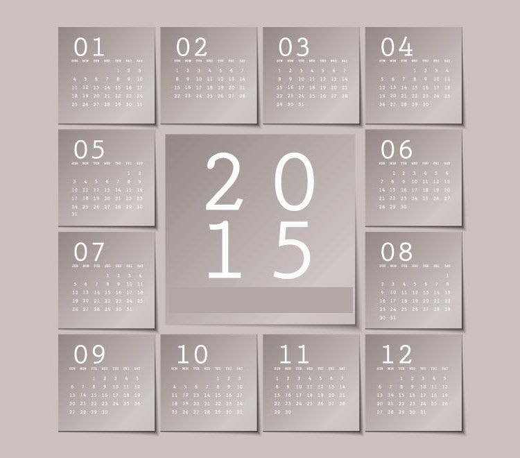 gray background montly block sticky notes 2015 vector calendar template