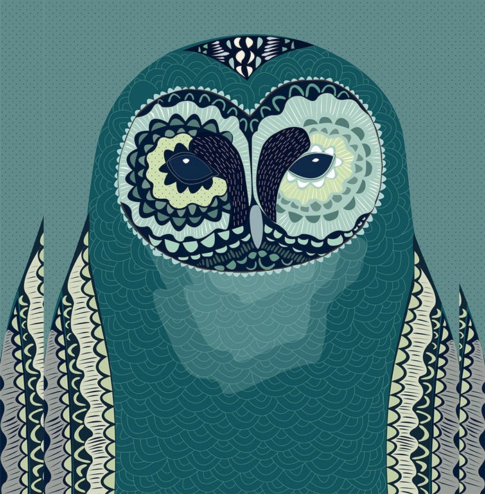 green owl illustration