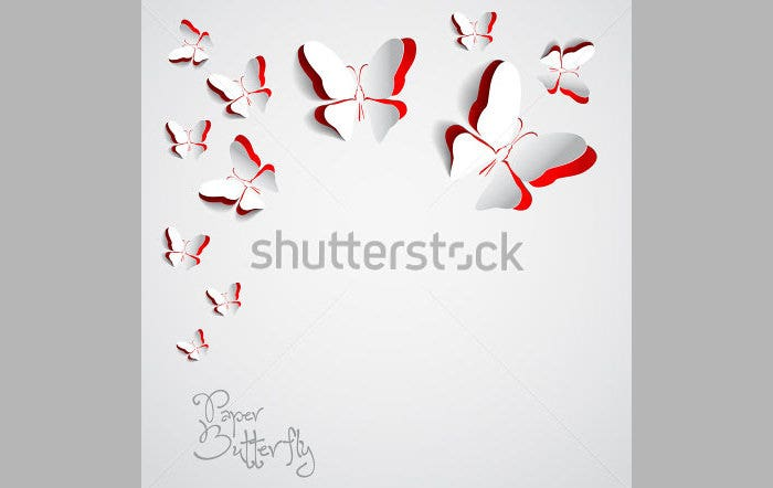 Greeting card with paper butterflies
