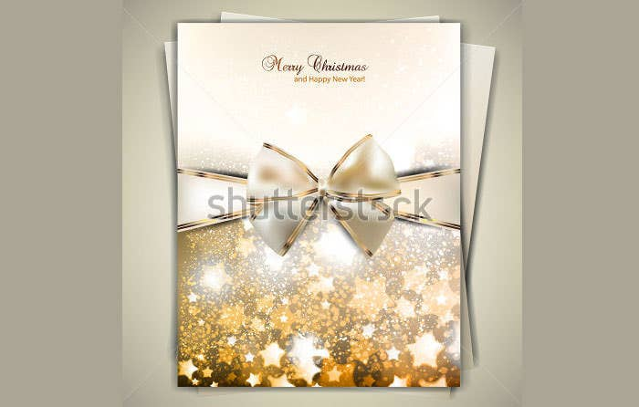 greeting card with white bow and copy space