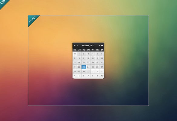 Html And Css Calendar Template