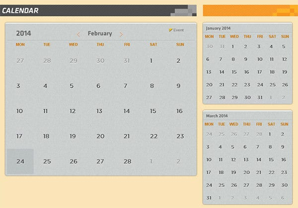 26 html calendar templates html psd css free. Black Bedroom Furniture Sets. Home Design Ideas