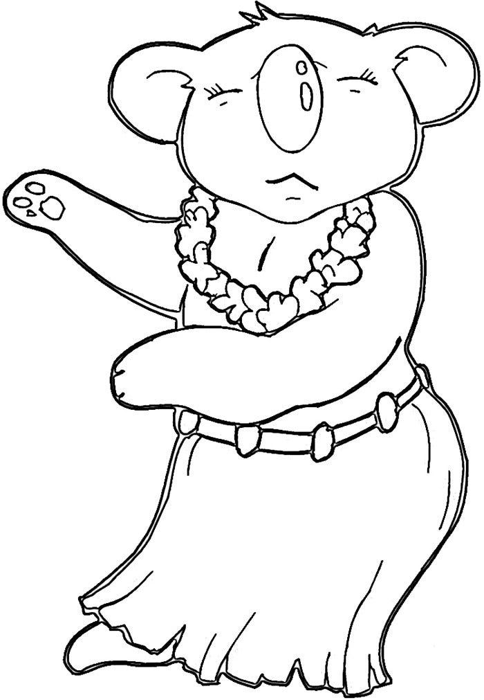hawaiian koala coloring page