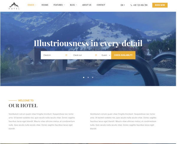 hotel bnb wordpress theme