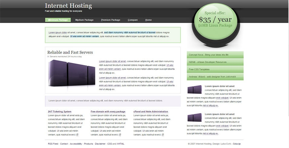 internet hosting free css template