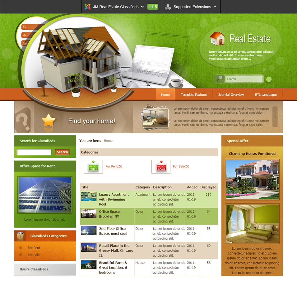 Classified joomla website templates themes free for Real estate craigslist template