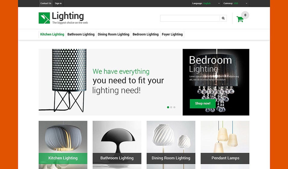 lighting store prestashop theme