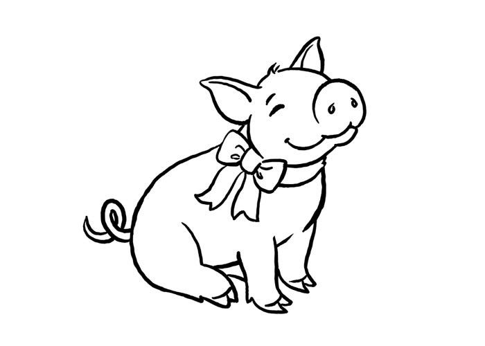 little farm pig coloring page