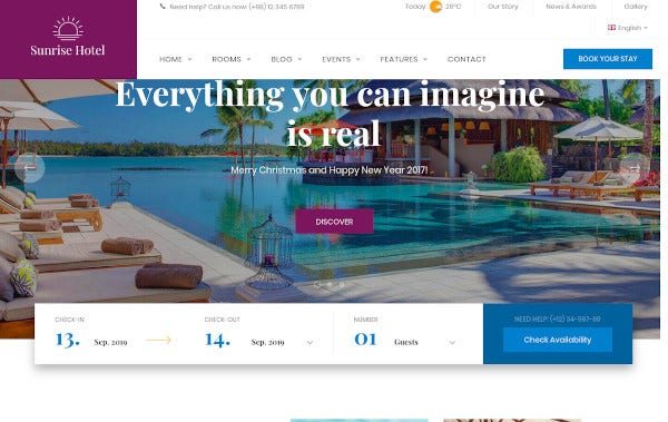 luxstay hotel wordpress template