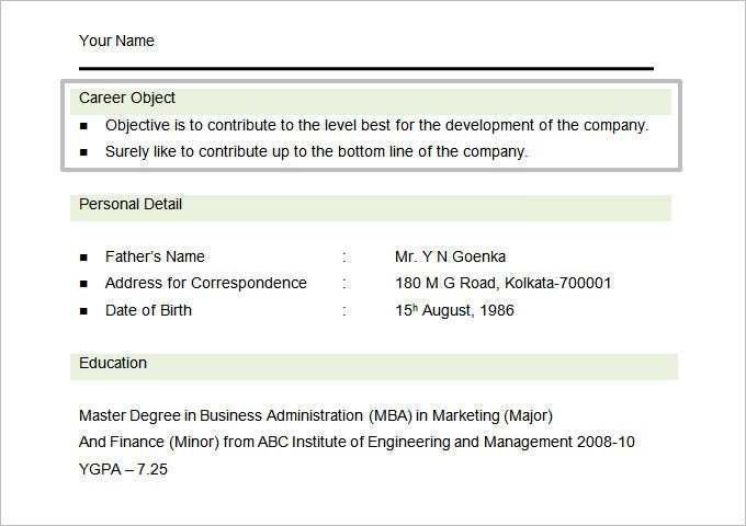 MBA Marketing Student Resume Objective Template