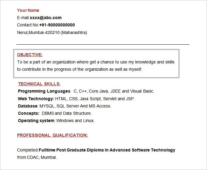 doc format mca fresher resume template free download - Objective In Resume For Freshers