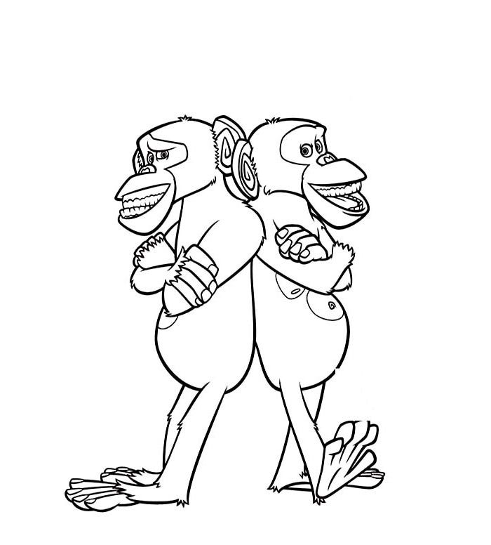 madagascar chimps coloring page
