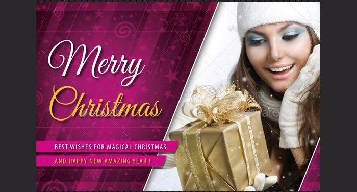 Merry Christmas Postcard Template Bundle