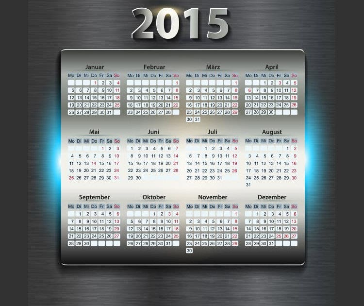 metal table with 2015 digits beautiful iphone style vector calendar template