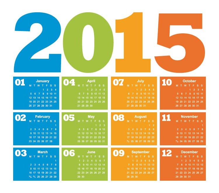 metro style new year 2015 calendar template vector