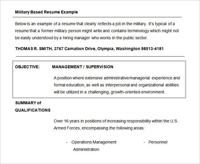 free military resume objective template doc format - Objectives To Put On Resume