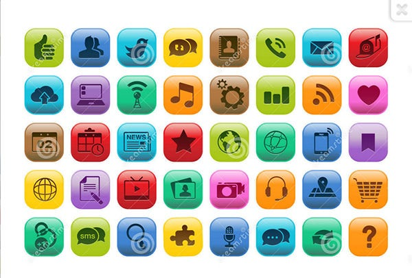 Mobile App Button Icon Set