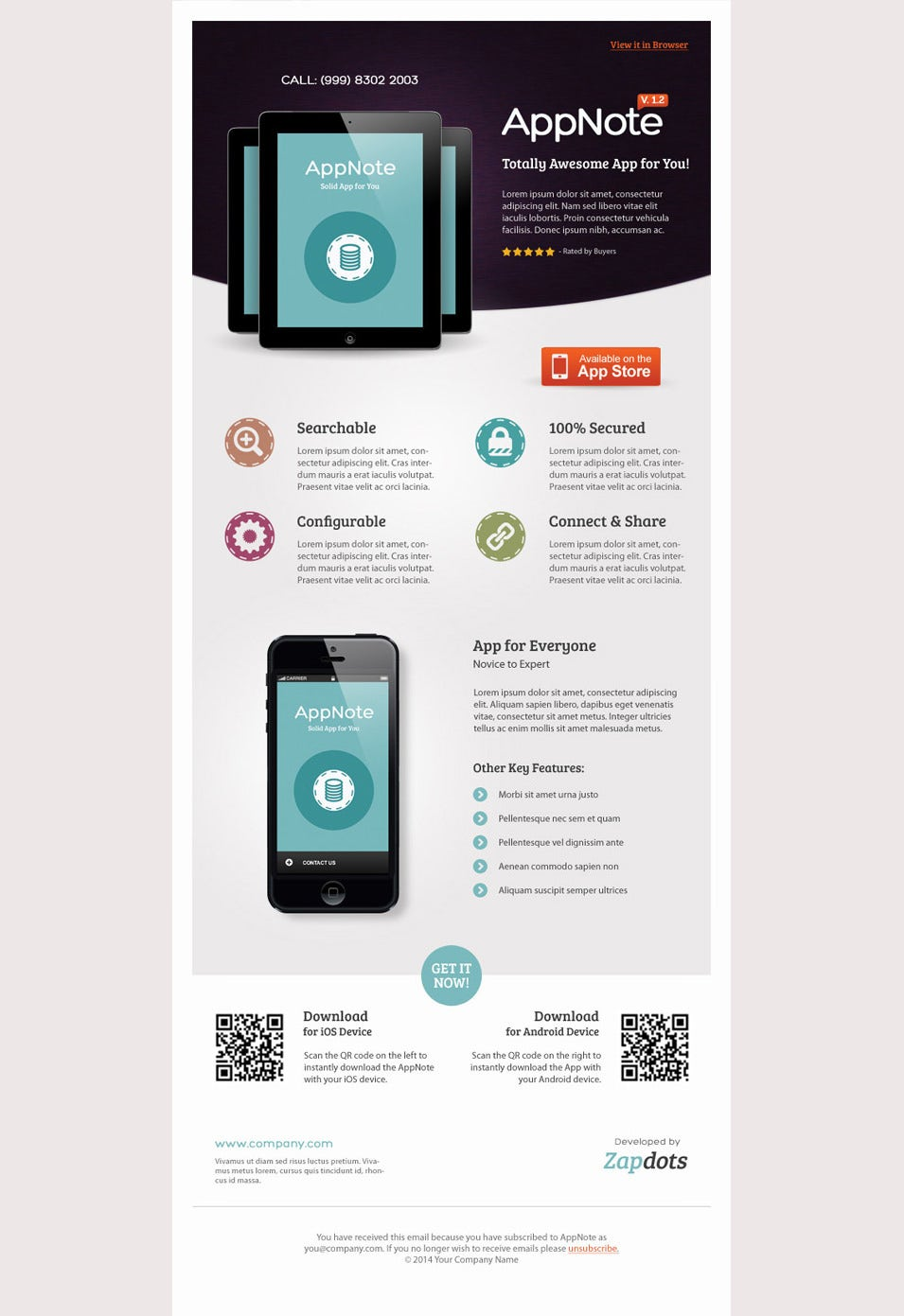 Mobile App E-Newsletter PSD Templates